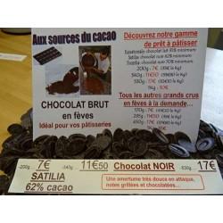 Chocolat noir 62% cacao Satilia
